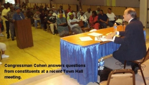 Congressman Cohen answers questions at a recent town hall meeting.